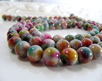 8mm JADE Beads in Green, Violet, Orange, Pink, Yellow and Cream, Dyed, Round, 1 Strand 16 Inches, Approx 52 Beads