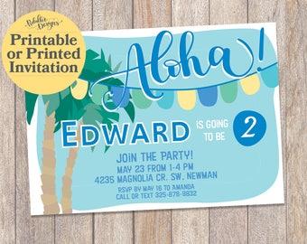 Printable Luau Invitations, Hawaiian Luau Birthday Invitation, Tropical Luau Invitation, First Birthday Invitation, Luau Birthday Invitation