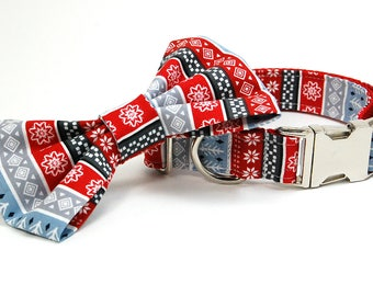 Handmade Dog Collar and Bow Tie Set - The Christmas Sweater - Custom Made Dog Collar with bowtie for Quilters