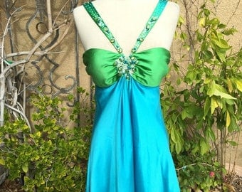 25% OFF SALE A vintage Nos 1990s Gorgeous Marc Bouwer beaded stoned Blue green sexy Silk cocktail dress size Xs