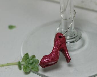 Wine Glass Charm Set High Heel Shoes Set of 9 polymer clay charms