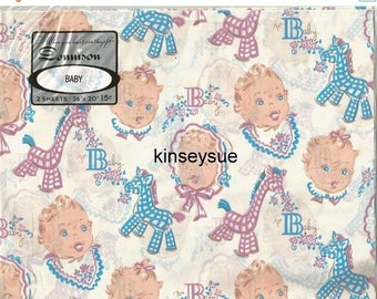 Spring Sale Vintage 1940s - 1950s Baby Shower Gift Wrap Unused Package Baby Boy Baby Girl  Vintage Wrapping Paper Baby Gift Wrap Vintage Gif