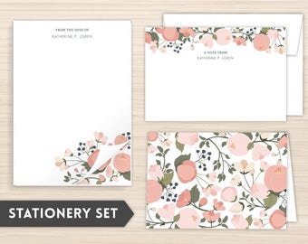 Personalized Stationery Set | Floral Stationery Set | Custom Stationery | Women's Personal Stationery | Spring Floral