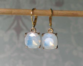 Opal Glass Earrings, 18th century jewelry, 19th century jewelry, Outlander Inspired