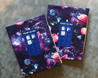 Doctor Who Police Box TARDIS Purple Space  Quilted Refillable Journal Notebook