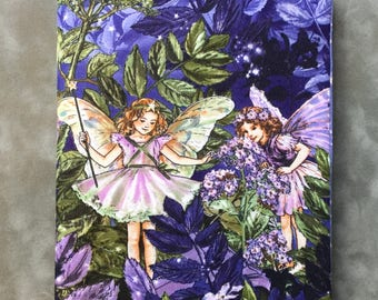 Purple Sparkly Fairy print  Quilted Refillable Journal Notebook