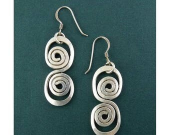 Sterling Silver Hand Hammered Dboule Coil Spiral Drop Earrings  - Pierced