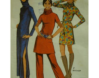 Knit Dress Pattern, 70s, Fitted, Hood, Raised Neck, Long/Short Sleeves, Long/Short, Side Slit, Tunic, Pants, Simplicity No. 9500 Size 14