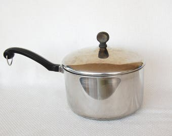Vintage NYC USA Farberware Aluminum Clad Stainless Steel 3 Quart Covered Saucepan Made in New York City, New York