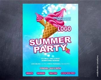 Summer Party Ice Cream Seasonal Hot Flyer Digital Printable