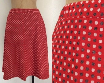 30% OFF 1970's Polyester Red Polka Dot Full Skirt Size XS Small by Maeberry Vintage