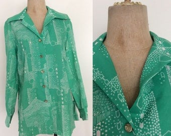 1970's Honeycomb Forest Button Up Vintage Shirt Size Large by Maeberry Vintage