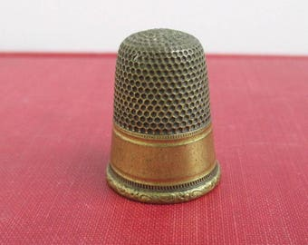 "Solid Brass Thimble - Vintage, Larger 1"" Tall"