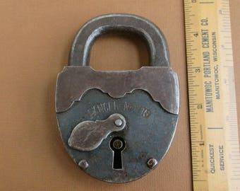 "4 1/2"" Antique Pancer No 115 Padlock - Very Large & Heavy Vintage Lock"