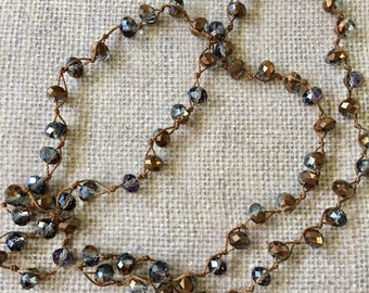 Necklace Crystal AB Brown Gray Crocheted Long Boho