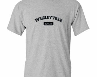 Wrigleyville T-Shirt- Print - Poster - Wrigleyville Nation - Chicago Cubs - Men and Unisex - XS S M L XL 2x - 4 Colors