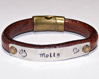 Paw Print Hand Stamped Distressed Brown Bracelet, Personalize, Your Choice of Wording, Metal Stamped, Pet Memorial, Pet Name, Dog Bracelet