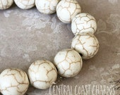 12mm Antique White Cream Natural Howlite Gemstone Beads (17) Smooth Round Stone - Healing Boho Mala Rustic Bohemian - Central Coast Charms