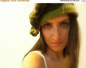 CIJ SALE Winter Beret Hat, Handmade, knit, Crochet, One Size, Floppy, Multicolor Green, Brown, Beige, Olive