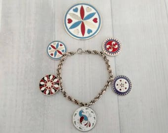 Vintage Pennsylvania Dutch Hex Sign Charm Bracelet and Pin Set, Distelfink Raindrops Lucky Star Rosette Designs, Enamel Charms Round Brooch