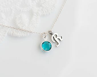 Birthstone Initial Necklace, Sterling Silver Personalized Birthstone Necklace, Sterling Silver Monogram Necklace, Mother, Grandmother Gift