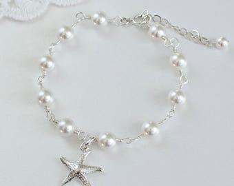Starfish Bracelet,Sterling Silver Starfish Bracelet,Ocean Tropical Beach Sterling Silver Pearls Bracelet,Nautical Necklace, Bridesmaids Gift