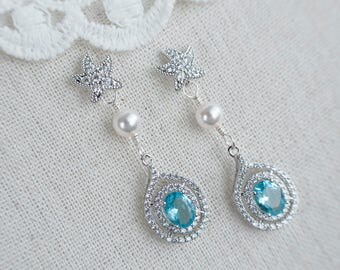 Starfish Earrings, Aquamarine Starfish Bridal Earrings, Aqua Blue Cubic Zirconia Bridal Earrings, Beach Theme Wedding, Wedding Destination