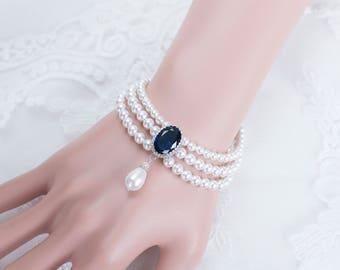 Pearl Cuff Bracelet, Blue Sapphire Multi Strand Pearl Bridal Bracelet,Swarovski Pearls and CZ Blue Sapphire Bracelet,Something Blue Bracelet