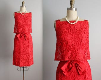 60's Cocktail Dress // Vintage 1960's Cherry Red Lace Cocktail Party Evening Dress S