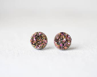 Pink Gold Tone Druzy Studs - Metallic Shimmer - Faux Raw Crystal Post Earrings - Sparkling Jewelry BUY 2 GET 1 FREE