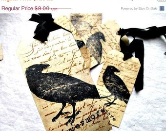 Edgar Allan Poe Inspired Hang Tags - Raven Nevermore - Tea Dyed - set of 6