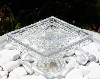 "Glass Square Cake Stand, Pedestal Cake Stand, Wedding Cake Stand, Cupcake Stand, Vintage, Home Living, Serving, 10"" Across,6T."