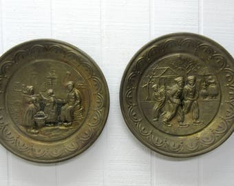 Vintage Repousse Metal Bronze Brass Dutch Scene Wall Plaques Made In England Lot Of 2