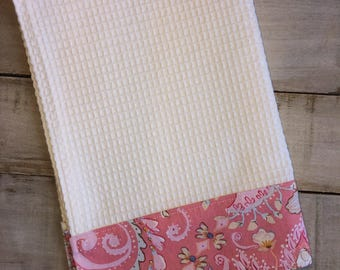 Kitchen Towel, Hand Towel, Tea Towel, Waffle Weave Towel, Dish Towel, Kitchen Hand Towel-Pink Floral