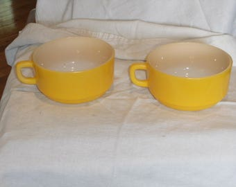 Vintage Yellow Fire King Soup Mugs