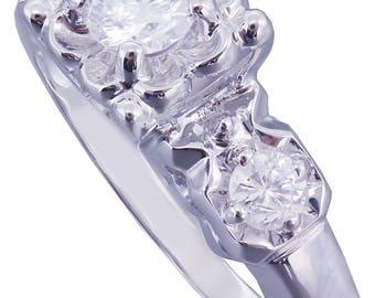 14k White Gold Round Cut Diamond Engagement Ring Art Deco Antique Style, Bridal, Prong Set, Natural Diamonds, Halo, Three Stone 0.50ct