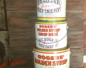 Vintage Syrup Tins, B.C. Sugar Refinery Tins, Cans, Pails, Roger's Golden Syrup Trio, Instant Collection