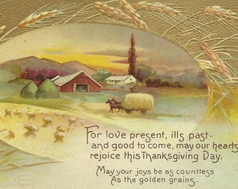 Antique Thanksgiving Postcard Lightly Embossed 1911 Wagonload of Wheat and Thoughtful Thanksgiving Verse
