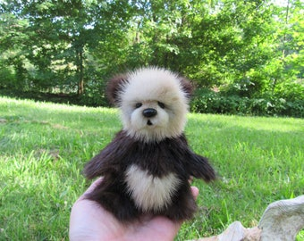 Mingli, An Upcycled Mink Artist Jointed Teddy Bear Cub OOAK - Layaway Available