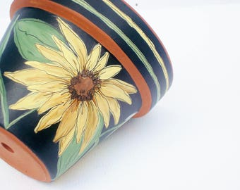 "Hand Painted Pot 4 Inch ""Sunflowers""-Ready to Ship"