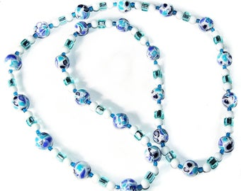 Long necklace of blue mosaic style, fimo