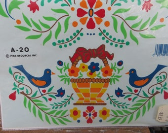 Handpainted Vintage Decals by Decorcal Folk Art Design Fruit and Birds Small 1984 Design no. A-20 Easy to Use Vintage Decals Kitchen Style