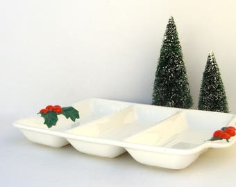 Christmas Serving Tray, Vintage Japan Divided Dish, Holly Berries, Snacks, Candy