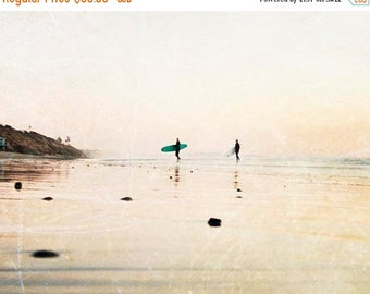 "SALE Large Wall Art, Surfer, Surf Art, California Beach Decor, Surf Decor, Cream Beige, Beach Photography, Large Photograph ""Surfer Dudes"""