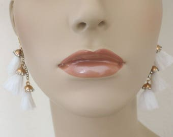 Tassel Earrings - Statement Earrings - Crystal Earrings - White Earrings - Chain Earrings - Boho Earrings - Long Earrings - handmade jewelry