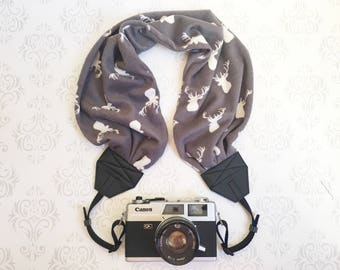 Scarf Camera Strap,  Gift for a Photographer, DSLR Camera Strap,  Gift, Nikon, Canon, DSLR Photography - Buck Antlers
