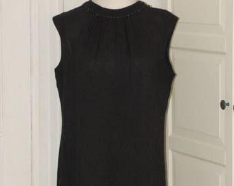 ON SALE 60s Sheath Dress, Linen, Beaded Neckline, LBD, Kay Windsor, Nwot, Size Medium/Large