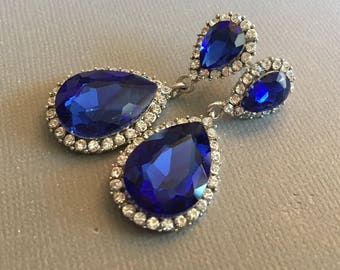 Royal Blue Earrings Long with Cobalt Blue Rhinestone in teardrop pear shape pearl 2 inches long elegant with tons of sparkle
