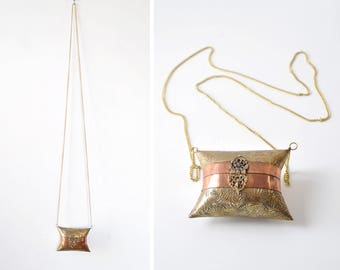 Tiny Purse • 70s Purse • Small Crossbody Purse • Brass Purse • Pillow Purse • Boho Crossbody Purse • Small Crossbody Bag | B802