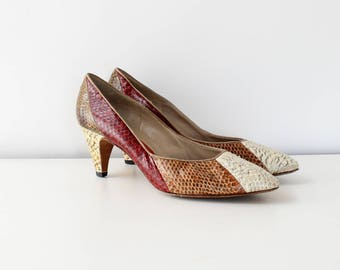 Snakeskin Pumps 8 1/2-9 • 80s Heels • Italian Shoes • Colorblock Vintage Heels • High Heel Shoes • Red Pumps • Snakeskin Shoes | SH462